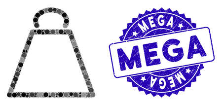 Mosaic weight icon and grunge stamp seal with Mega phrase. Mosaic vector is composed with weight icon and with randomized round spots. Mega seal uses blue color, and dirty design.