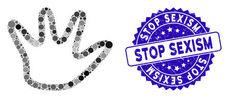 Mosaic negation gesture icon and grunge stamp seal with Stop Sexism text. Mosaic vector is created with negation gesture icon and with random round items. Stop Sexism stamp seal uses blue color,