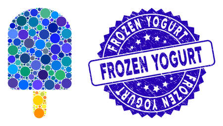 Mosaic ice cream icon and grunge stamp seal with Frozen Yogurt text. Mosaic vector is created with ice cream icon and with random round spots. Frozen Yogurt stamp seal uses blue color,