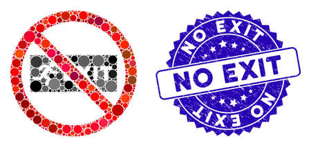 Mosaic no exit icon and grunge stamp seal with No Exit caption. Mosaic vector is formed from no exit icon and with random circle elements. No Exit stamp seal uses blue color, and grunged surface.