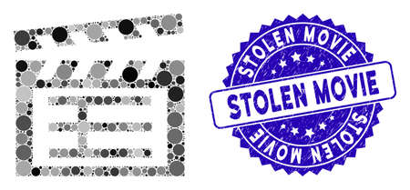 Mosaic movie clap icon and rubber stamp seal with Stolen Movie phrase. Mosaic vector is composed with movie clap icon and with random circle spots. Stolen Movie stamp seal uses blue color,