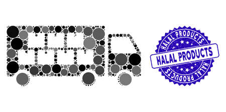 Mosaic goods transportation truck icon and distressed stamp seal with Halal Products phrase. Mosaic is composed with goods transportation truck icon and with random spheric elements.
