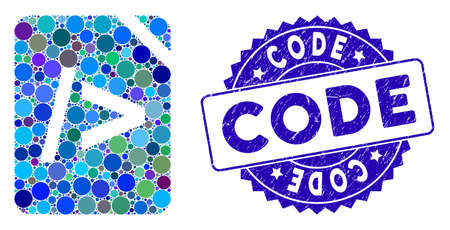 Collage script code icon and grunge stamp seal with Code text. Mosaic is designed with script code icon and with randomized circle items. Code seal uses blue color, and grunged texture. Illusztráció