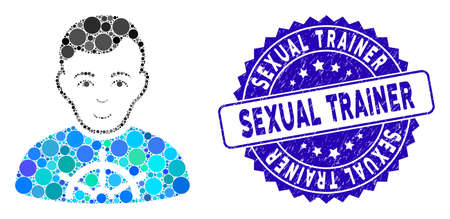 Mosaic captain icon and rubber stamp watermark with Sexual Trainer text. Mosaic vector is formed with captain icon and with random circle elements. Sexual Trainer stamp uses blue color,