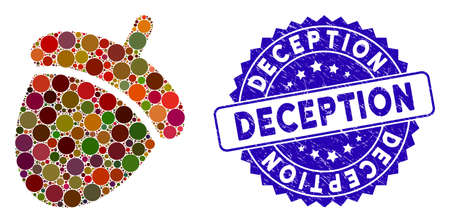 Collage acorn icon and rubber stamp seal with Deception text. Mosaic vector is composed with acorn icon and with scattered spheric spots. Deception stamp seal uses blue color, and scratched design.