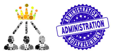 Mosaic administration crown icon and grunge stamp seal with Administration phrase. Mosaic vector is composed with administration crown pictogram and with scattered circle spots.