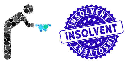 Mosaic beggar icon and corroded stamp watermark with Insolvent text. Mosaic vector is created with beggar icon and with scattered round items. Insolvent stamp seal uses blue color,