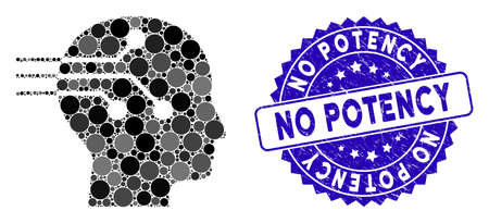 Mosaic brain interface icon and grunge stamp seal with No Potency caption. Mosaic vector is formed with brain interface icon and with scattered round items. No Potency stamp seal uses blue color, Vectores