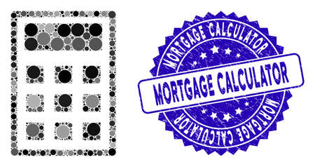 Collage calculator icon and grunge stamp seal with Mortgage Calculator text. Mosaic vector is formed with calculator icon and with random spheric items. Mortgage Calculator stamp seal uses blue color,