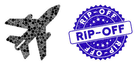 Mosaic airplane icon and grunge stamp watermark with Rip-Off text. Mosaic vector is designed from airplane icon and with randomized spheric spots. Rip-Off stamp uses blue color, and rubber design.