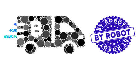 Mosaic Bitcoin express car icon and distressed stamp watermark with By Robot phrase. Mosaic vector is created from Bitcoin express car icon and with scattered circle elements. 向量圖像