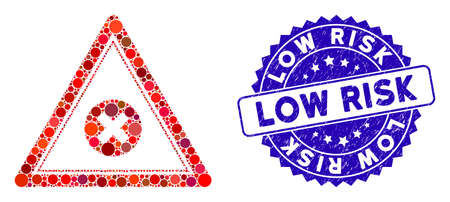 Mosaic cancel triangle icon and grunge stamp watermark with Low Risk phrase. Mosaic vector is designed with cancel triangle icon and with scattered spheric items. Low Risk stamp seal uses blue color,