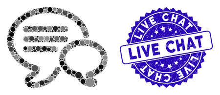 Mosaic chat icon and rubber stamp watermark with Live Chat text. Mosaic vector is formed with chat icon and with scattered round items. Live Chat stamp uses blue color, and rubber design. Ilustração