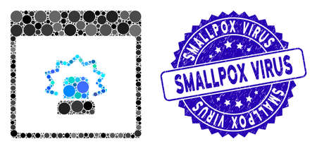 Mosaic alert calendar page icon and corroded stamp watermark with Smallpox Virus phrase. Mosaic vector is designed with alert calendar page icon and with random spheric elements.