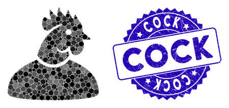 Mosaic cock man icon and corroded stamp seal with Cock caption. Mosaic vector is designed with cock man pictogram and with randomized circle items. Cock stamp seal uses blue color, and grunge surface.