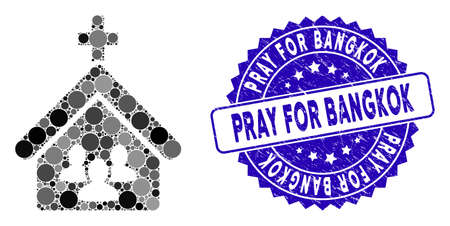 Mosaic church people icon and distressed stamp seal with Pray for Bangkok caption. Mosaic vector is created with church people icon and with randomized circle items. Illustration