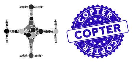 Mosaic copter icon and corroded stamp seal with Copter text. Mosaic vector is created with copter icon and with randomized spheric spots. Copter stamp seal uses blue color, and distress surface. Illustration