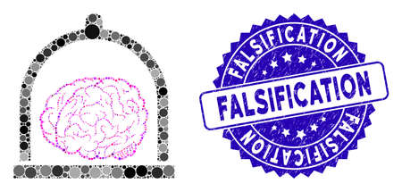 Collage brain conservation icon and grunge stamp watermark with Falsification caption. Mosaic vector is designed with brain conservation icon and with scattered circle items. Ilustracja