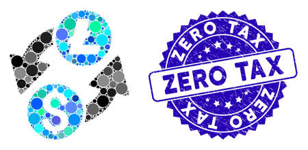 Mosaic dollar Litecoin exchange icon and rubber stamp seal with Zero Tax phrase. Mosaic vector is designed with dollar Litecoin exchange icon and with scattered circle elements.