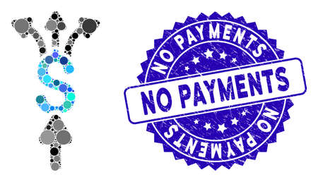Mosaic divide payments icon and grunge stamp seal with No Payments text. Mosaic vector is composed with divide payments icon and with randomized circle elements. No Payments stamp uses blue color, Vectores