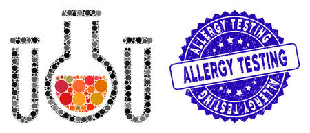 Mosaic chemical vessels icon and corroded stamp watermark with Allergy Testing phrase. Mosaic vector is composed from chemical vessels icon and with random circle spots.