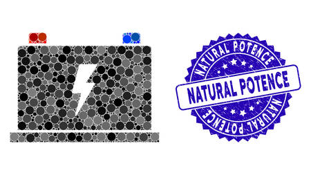 Mosaic electric battery icon and rubber stamp watermark with Natural Potence text. Mosaic vector is created with electric battery icon and with randomized spheric spots.