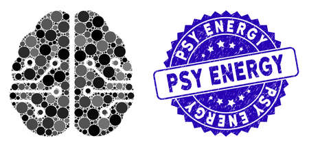Mosaic electronic brain icon and corroded stamp watermark with Psy Energy caption. Mosaic vector is designed with electronic brain icon and with randomized circle items. Illustration