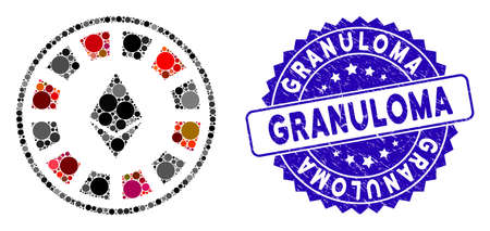 Mosaic Ethereum casino roulette icon and rubber stamp watermark with Granuloma caption. Mosaic vector is composed with Ethereum casino roulette icon and with random round spots.