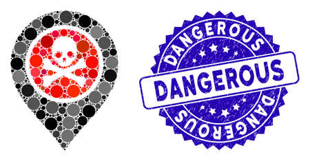 Mosaic dangerous zone pointer icon and corroded stamp seal with Dangerous text. Mosaic vector is designed with dangerous zone pointer icon and with randomized round spots.