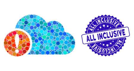 Mosaic exclamation icon and grunge stamp seal with All Inclusive text. Mosaic vector is formed with exclamation icon and with random spheric spots. All Inclusive seal uses blue color,