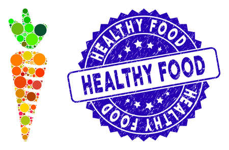 Icono de zanahoria de mosaico y sello de sello angustiado con leyenda de Alimentos saludables. El vector de mosaico se forma con el icono de zanahoria y con puntos circulares dispersos. El sello de estampillas para alimentos saludables utiliza color azul,