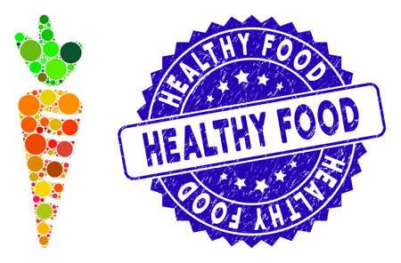 Mosaik-Karotten-Symbol und beunruhigtes Stempelsiegel mit gesundem Essen. Mosaikvektor wird mit Karottensymbol und mit verstreuten Kreisflecken gebildet. Das Stempelsiegel für gesunde Lebensmittel verwendet blaue Farbe,