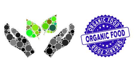 Icône de mains de soins de la flore de collage et sceau de tampon en caoutchouc avec légende d'aliments biologiques. Le vecteur mosaïque est créé avec l'icône des mains de soins de la flore et avec des taches rondes aléatoires. Le timbre d'alimentation biologique utilise la couleur bleue,