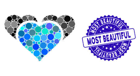 Mosaic favourite hearts icon and grunge stamp watermark with Most Beautiful phrase. Mosaic vector is formed with favourite hearts icon and with randomized round spots.