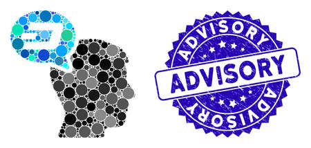 Mosaic Dash thinking balloon icon and grunge stamp seal with Advisory caption. Mosaic vector is composed with Dash thinking balloon icon and with scattered circle items.