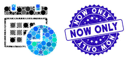 Mosaic date and time icon and grunge stamp seal with Now Only phrase. Mosaic vector is designed with date and time icon and with scattered circle items. Now Only stamp seal uses blue color,
