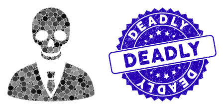 Mosaic deadly manager icon and distressed stamp seal with Deadly phrase. Mosaic vector is created with deadly manager icon and with random round spots. Deadly stamp uses blue color,