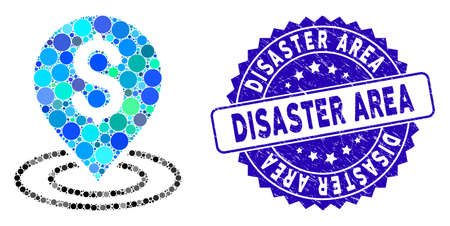 Mosaic dollar place icon and grunge stamp seal with Disaster Area caption. Mosaic vector is composed with dollar place icon and with randomized spheric items. Disaster Area seal uses blue color, Vettoriali