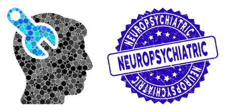 Mosaic head neurology wrench icon and grunge stamp watermark with Neuropsychiatric phrase. Mosaic vector is composed with head neurology wrench icon and with scattered round items.