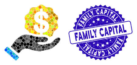 Mosaic investor hand icon and corroded stamp watermark with Family Capital text. Mosaic vector is composed with investor hand icon and with randomized round elements. 向量圖像