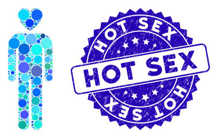 Mosaic lover man icon and distressed stamp seal with Hot Sex text. Mosaic vector is designed from lover man icon and with random circle items. Hot Sex stamp seal uses blue color, and distress texture.