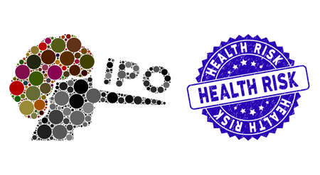 Mosaic IPO liar icon and distressed stamp watermark with Health Risk phrase. Mosaic vector is designed with IPO liar icon and with random spheric items. Health Risk stamp uses blue color, Illustration