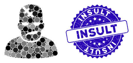 Mosaic neurology patient icon and rubber stamp seal with Insult text. Mosaic vector is composed with neurology patient pictogram and with scattered round items. Insult seal uses blue color,
