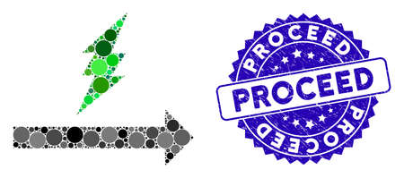 Mosaic proceed icon and grunge stamp seal with Proceed phrase. Mosaic vector is composed from proceed icon and with random round elements. Proceed stamp uses blue color, and grunge texture.
