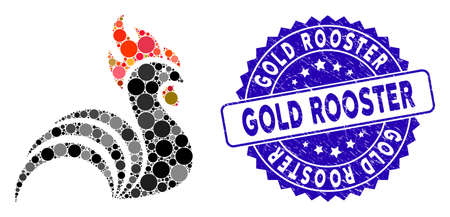Mosaic rooster icon and grunge stamp watermark with Gold Rooster text. Mosaic vector is created with rooster icon and with randomized round elements. Gold Rooster stamp uses blue color, Illusztráció