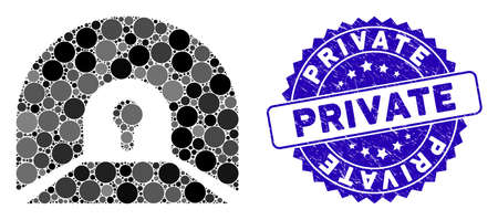 Mosaic private tunnel icon and distressed stamp seal with Private phrase. Mosaic vector is formed with private tunnel icon and with random circle items. Private stamp seal uses blue color,