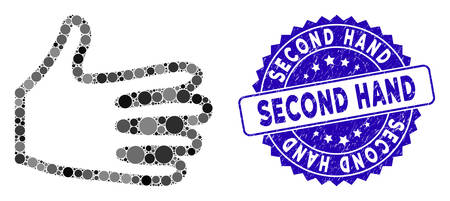 Mosaic pan fingers icon and corroded stamp watermark with Second Hand text. Mosaic vector is formed with pan fingers icon and with scattered circle elements. Second Hand stamp uses blue color,