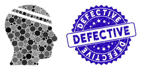 Mosaic patient head icon and rubber stamp seal with Defective text. Mosaic vector is designed with patient head icon and with scattered circle items. Defective stamp seal uses blue color,