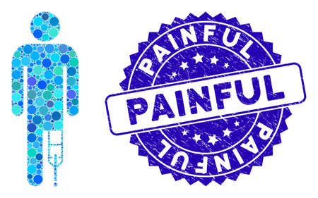 Mosaic patient man icon and rubber stamp watermark with Painful caption. Mosaic vector is created with patient man icon and with randomized circle items. Painful stamp uses blue color,