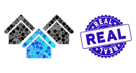 Mosaic real estate icon and distressed stamp watermark with Real text. Mosaic vector is formed with real estate icon and with scattered round elements. Real stamp seal uses blue color,